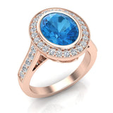Classic Oval Blue Topaz & Diamond Fashion Ring 14K Gold - Rose Gold