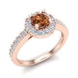 1.00 ct tw Champagne & White Round Diamond Cathedral Style Halo Engagement Ring 14K Gold (J,I1) - Rose Gold