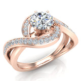 1.00 carat Intertwined Diamond Engagement Ring Twisted Shank 14K Gold Setting (G,SI) - Rose Gold