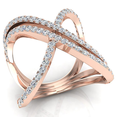 Multi Row Diamond Cocktail Knuckle Ring 18K Gold (G,VS) - Rose Gold