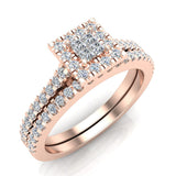 Princess Cut Square Halo Diamond Wedding Ring Set 0.59 Carat Total 18K Gold (G,VS) - Rose Gold