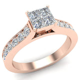 Four Quad Princess Cut Diamond Cathedral Accent Engagement Ring 14K Gold (G,SI) - Rose Gold