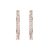 14K Gold Hoop Earrings 26 mm Diamond Line Setting Secure Click-in Lock (I,I1) - Rose Gold