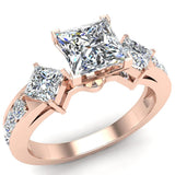 1.15 ct tw Princess Cut Center Diamond Engagement Ring 14K Gold (I,I1) - Rose Gold
