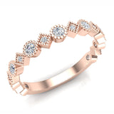 Circles & Squares Stacking Milgrain Diamond Wedding Band 0.32 ctw 14K Solid Gold (I,I1) - Rose Gold