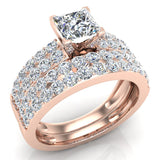 Intertwined Diamond Engagement Ring Cushion Shape 14k Gold 1.27 ct tw (I,I1) - Rose Gold