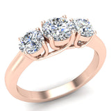 Round Brilliant Diamond Three Stone Anniversary Wedding Ring in 14K Gold (G,VS1) - Rose Gold