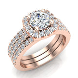 Luxury Round Cushion Halo Diamond Engagement Ring Set 18K Gold (G,SI)