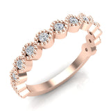 Designer Stacking Evil Eye Round Milgrain Diamond Wedding or Anniversary Band  0.26 ctw 14K Gold (G,I1) - Rose Gold