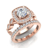 Crescent Wave Shank Round Diamond Cushion Halo Wedding Ring w Band 1.46 ctw 14K Gold (G,I1) - Rose Gold