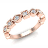 Stacking Marquee & Square Designer Milgrain Diamond Wedding Band 0.22 Ctw 18K Solid Gold (G,SI) - Rose Gold