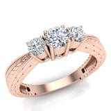 Past Present Future Style Engraved Three Stone Anniversary Ring Diamond Engagement Ring 14K Gold (G,SI) - Rose Gold