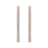 Exquisite 34.69 mm Diameter Inside Out Diamond Hoop Earrings 1.80 Ctw 14K Gold Shared Prong Setting (I,I1) - Rose Gold