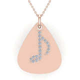 Signature Guitar Pick 14K Gold Necklace with Diamond Musical Note Highlights 0.10 ctw (I,I1) - Rose Gold