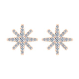 Starburst Pave Diamond Stud Earrings ½ ctw 14K Gold (I,I1) - Rose Gold