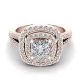 Magnificent Princess Diamond Cushion Halo V Shank Engagement Ring 1.47 ctw 14K Gold (I,I1) - Rose Gold