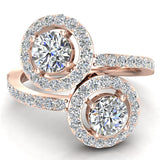 Two-Stone Diamond Halo Setting Engagement Ring 18k Gold (G,VS) - Rose Gold