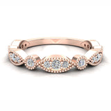 Stacking Circle & Marquee Designer Milgrain Diamond Wedding Band 0.28 Ctw 14K solid Gold (I,I1) - Rose Gold
