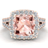 Cushion Cut Pink Morganite Halo Engagement Ring 14K Gold (I,I1) - Rose Gold