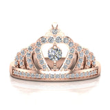 Fashion Princess Tiara Crown Diamond Ring 0.50 carat total weight Band Style 14K Gold (G,SI) - Rose Gold