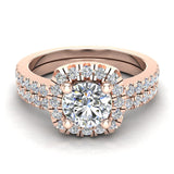 Ravishing Round Cushion Halo Diamond Wedding Ring Set 1.40 ctw 18K Gold (G,SI) - Rose Gold