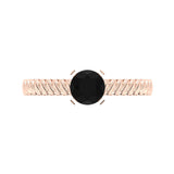 Black Round Brilliant Cut Rope Setting Solitaire Engagement Ring 14K Gold - Rose Gold