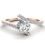 18k Gold Diamond Promise Ring Bypass Setting 0.50 ctw (G,VS) - Rose Gold