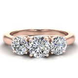 Round Brilliant Diamond Three Stone Anniversary Wedding Ring in 14K Gold (G,SI) - Rose Gold