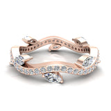 Contemporary Leaf Style Diamond Wedding Ring 0.90 ctw 14K Gold (G,I1) - Rose Gold