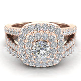 Cushion Halo Split Shank Diamond Wedding Ring Set 14k Gold (I,I1) - Rose Gold
