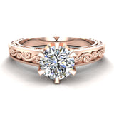 0.75 Carat Vintage Style Filigree Engagement Ring 18K Gold (G,SI) - Rose Gold