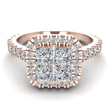 Princess Cushion Halo Diamond Engagement Ring 1.38 ctw 14K Gold (I,I1) - Rose Gold