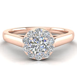 Round Diamond Halo Promise Ring in 14k Gold (G,I1) - Rose Gold