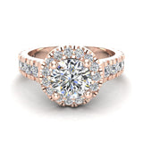 1.81 Carat Total Weight Dual Row Wide Shank Halo Diamond Engagement Ring 14K Gold (I,I1) - Rose Gold