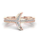 Fish-Tail Design Shank Eternity Band Wedding Ring 14K Gold (G,SI) - Rose Gold