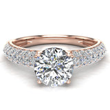 Glitz Design Trio Pave Three row Diamond Engagement Ring 14K Gold 1.20 ct (G,SI) - Rose Gold