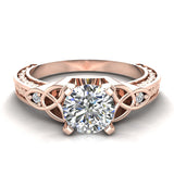 0.78 Carat Art Deco Trinity Knot Engagement Ring 14K Gold (I,I1) - Rose Gold