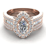 Statement Band Marquise Cut Halo Diamond Engagement Ring Baguettes 1.43 Carat Total 14K Gold (I,I1) - Rose Gold