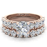 Trellis Round Diamond Wedding Ring Set 2.05 ctw 14K Gold (I,I1) - Rose Gold
