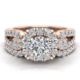 Wedding Ring Set for Women Accented Diamond Loop Shank 1.00 - 1.05 ctw Carat 14K Gold (G,SI) - Rose Gold