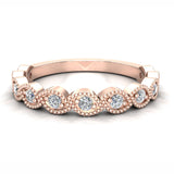 Designer Stacking Marquee Round Milgrain Diamond Wedding or Anniversary Band 0.22 ctw 14K Gold (G,I1) - Rose Gold