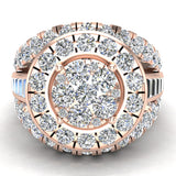 2.50 ct tw Cluster Diamond Wedding Ring Set with Bands 14K Gold (I,I1) - Rose Gold