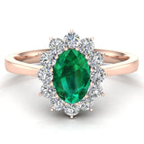 May Birthstone Emerald Oval 14K Gold Diamond Ring 0.80 ct tw - Rose Gold