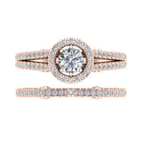 Vintage Look Split Shank Diamond Engagement Ring Set 14K Gold (I,I1) - Rose Gold