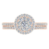 Illusion Solitaire Diamond Wedding Ring Set 14K Gold (I,I1) - Rose Gold
