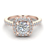 Ravishing Round Cushion Halo Diamond Wedding Ring 1.15 ctw 14K Gold (I,I1) - Rose Gold