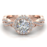 Twist Shank Halo Diamond Engagement Ring 4 Prong Setting 1.44 Carat Total Weight 14K Gold (G,SI) - Rose Gold