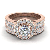 Stunning Round Halo Encrusted Shank Diamond Wedding Ring Set 1.42 ctw 14K Gold (G,I1) - Rose Gold