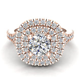 Cushion Halo Diamond Engagement Ring 1.35 Carat Total Weight Y Style Setting 14K Gold (G,SI) - Rose Gold