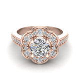Solitaire Diamond Floral Halo Wedding Ring 18K Gold (G,VS) - Rose Gold